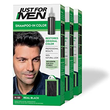 Amazon Com Just For Men Shampoo In Color Formerly Original Formula Gray Hair Coloring For Men Real Black H 55 Pack Of 3 Packaging May Vary Beauty