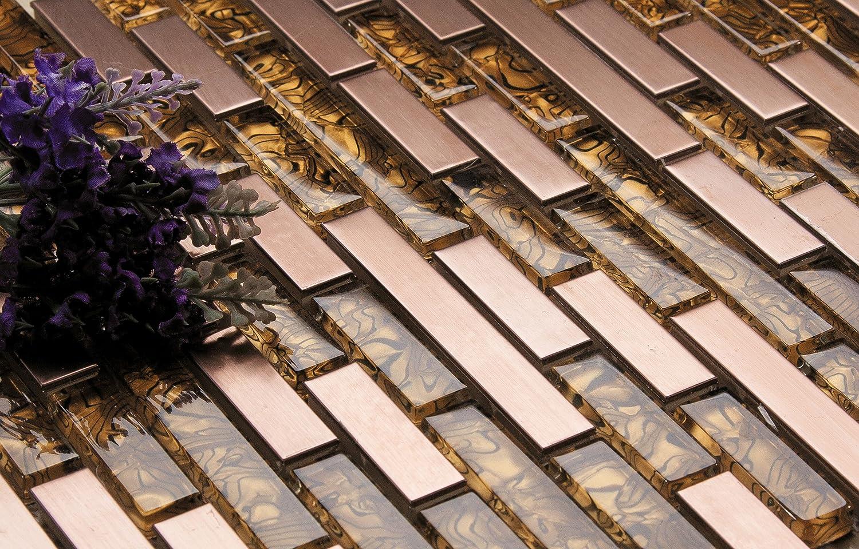MT0169 30cm x 30cm Matte Glas und geb/ürstet Edelstahl Mosaik Wand Fliesen Blatt Gold und Kupfer