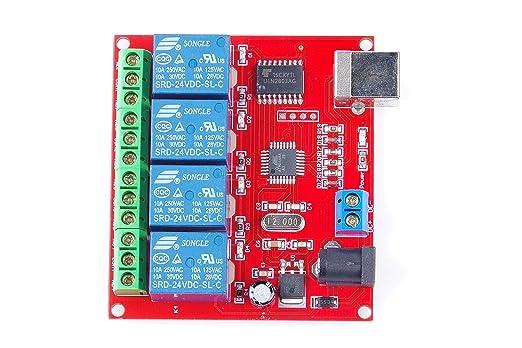 KNACRO SRD-05VDC-SL-C 2-way 5V Relay Module Free driver USB control switch  PC intelligent control (24V 4-Channel)