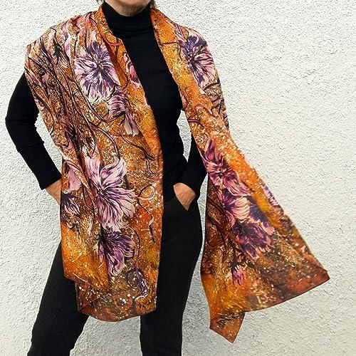 af4f42ca5d43 Amazon.com  Large Silk Scarf Hand Painted   Printed Designer Shawl ...