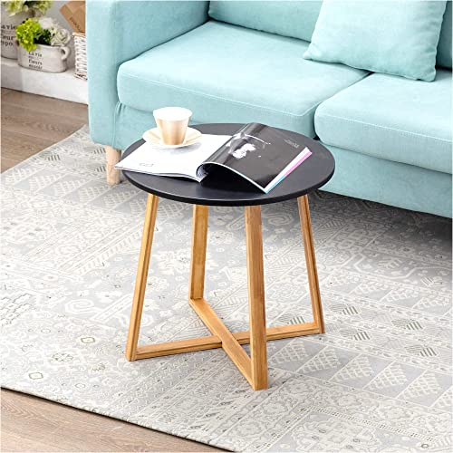 Zoopolyn Babmoo Nightstand Small Rround Coffee Side Table End Bedside Tray Accent Desk