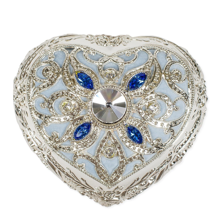 Periwinkle Blue Velvet Heart Shaped Silver Tone Metal Music Box Plays Waltz of the Flowers Splendid Music Box Co.