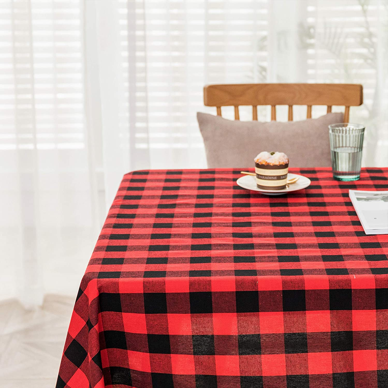 Spring Garden Home Tablecloth 52x70 for Rectangle/Oval Table Buffalo Checkered 6ft Long Tabletop Decoration for Summer Party/Events Decoration, Red and Black