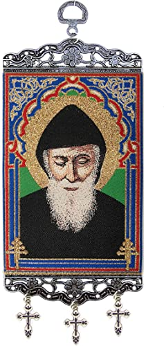 World Faith Tapestry Icon Banner Saint St Charbel Sharbel Tapestry Icon Banner Textile Art 9 3 4 x 3 7 8 Inches