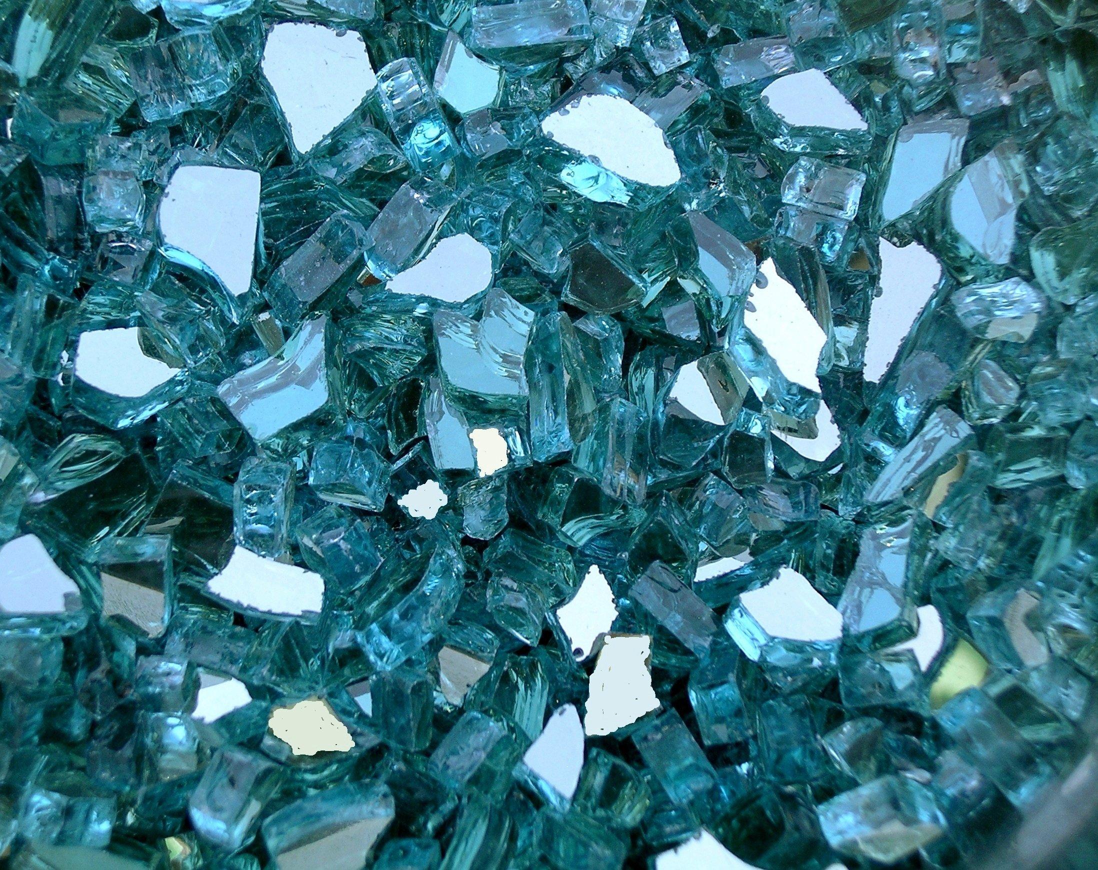 Fire Pit Glass, ~1/4'' Azuria Blue Reflective, 25 LBS