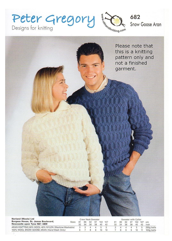 Peter Gregory Aran Knitting Pattern 682 Ladies Mens Jumpers Collar ...
