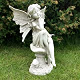 LARGE FAIRY ON MUSHROOM GARDEN ORNAMENT STATUE FIGURE ANTIQUE STONE EFFECT