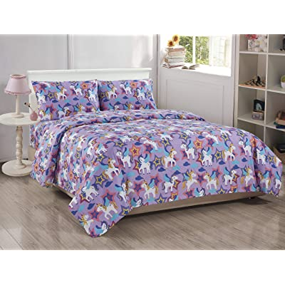 Fancy Linen 3pc Twin Sheet Set Castle Unicorn Purple Pink White Yellow New: Home & Kitchen