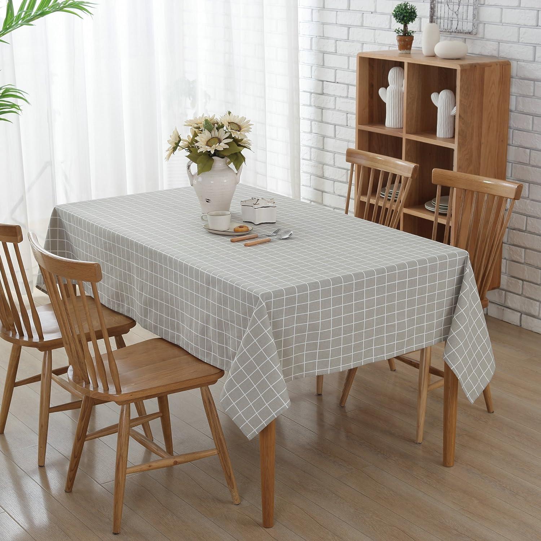 Gray Lattice Tablecloth  G.G.G. Non Slip Polyester Cotton Table Cloth  Multi Purpose Fashion Simple Table Cover Big Size
