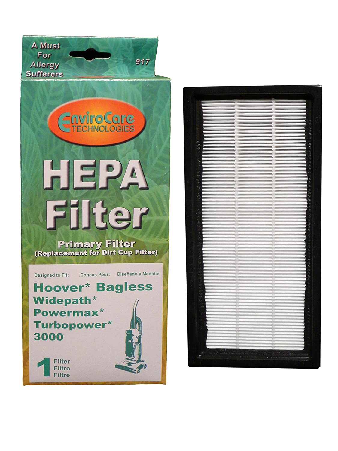 Hoover Bagless Widepath、Powermax、Turbopower 3000 HEPAフィルタPrimaryフィルタby EnviroCare B003MNQ98E