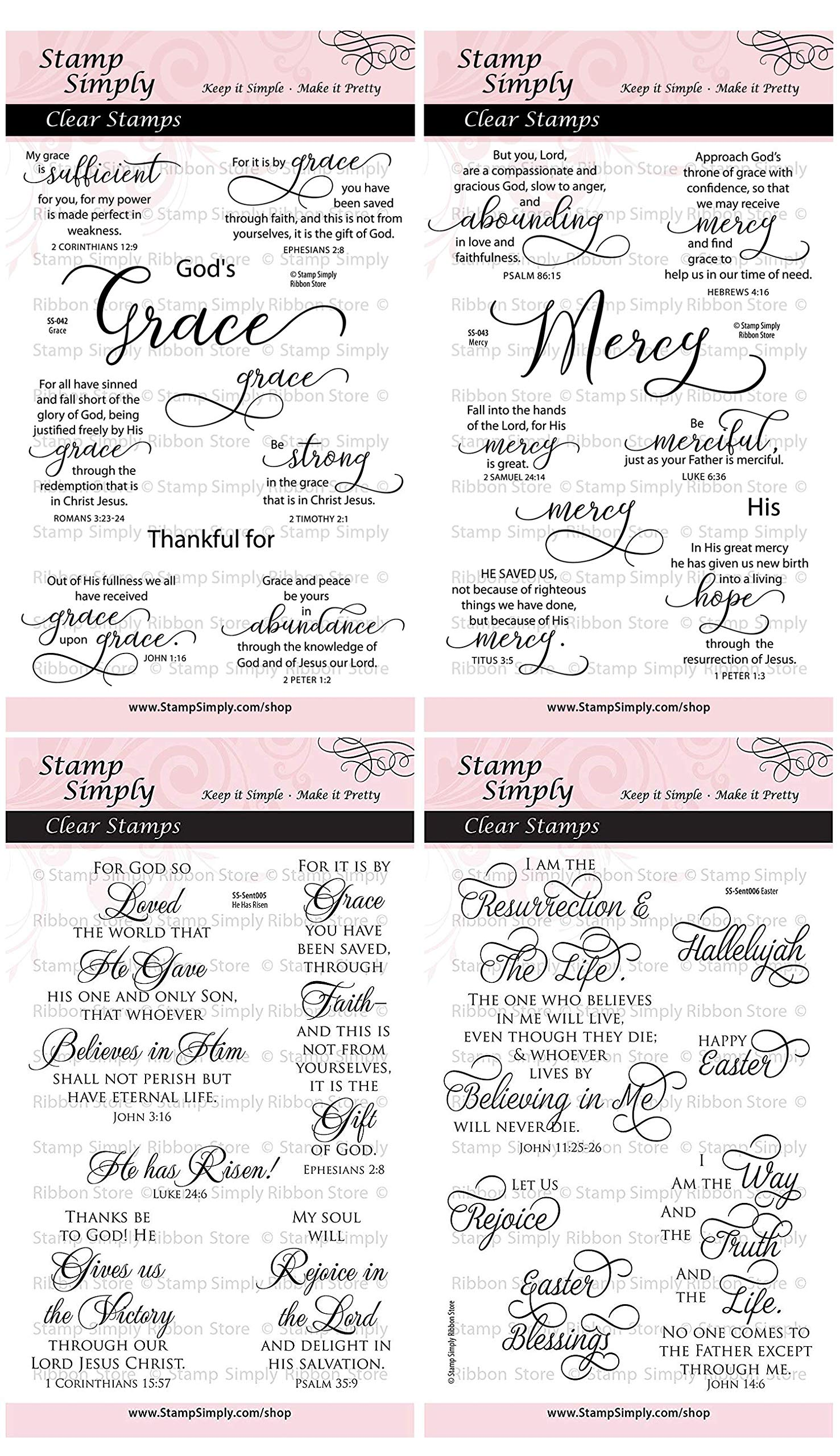 Stamp Simply Clear Stamps Grace Mercy He Has Risen and Easter Christian Religious (4-Pack) 4x6 Inch Sheets - 30 Pieces