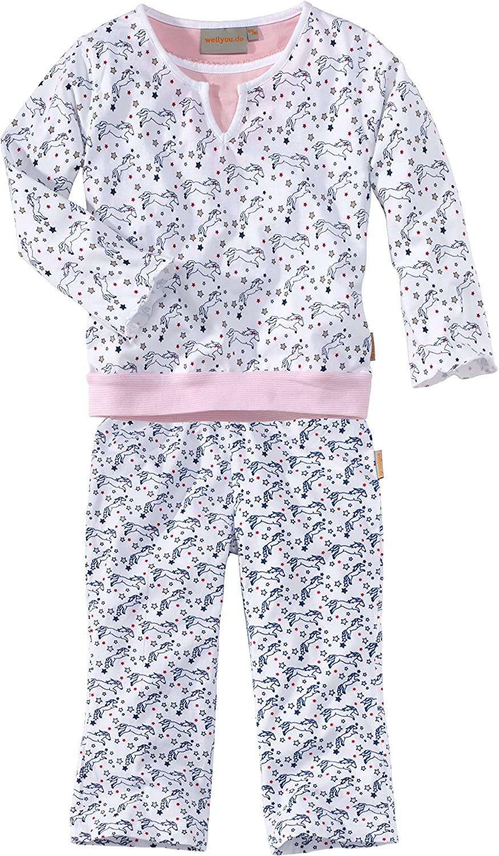 WELLYOU Pijama de niños, de Manga Larga, para niñas, con Motivo de Caballo, en Rosa/Blanco. Tallas 92-170