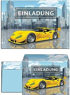 12 Einladungskarten Zum Kindergeburtstag Rennauto Incl. 12 Umschläge /  Rennsportwagen / Rennwagen / Auto /