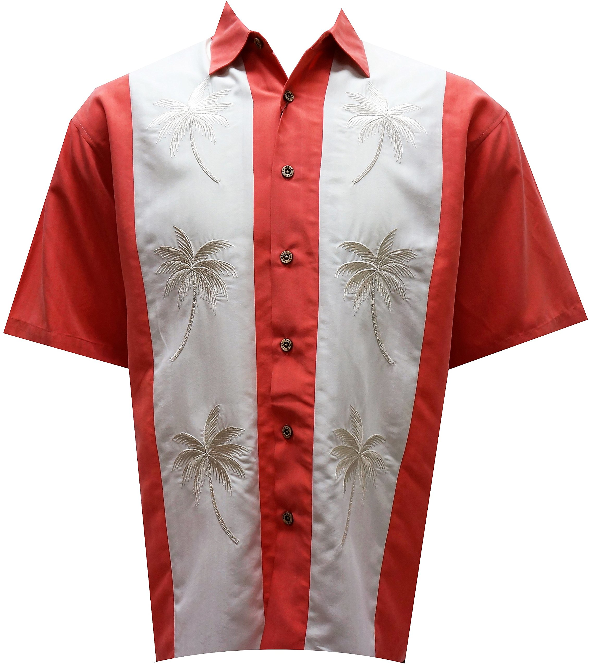 Bamboo Cay Mens Pacific Paneled Palms, Tropical Style Button Front Embroidered Camp Shirt (Large, Salmon) by Bamboo Cay