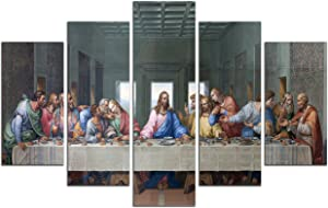 NAN Wind 5 Piece Large Size The Last Supper by Leonardo da Vinci Classic Art Print Wall Picture Giclee Canvas Prints Wall Art for Home Decor Ready to Hang(Famous Painting Replica)