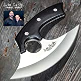 Hibben Legacy Ulu Knife and Leather Sheath - 5Cr15 Stainless Steel Blade, Pakkawood Handle Scales, Stainless Steel Pins - Length 7 5/8