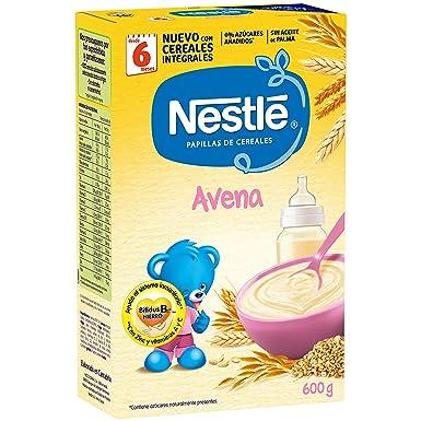 Nestlé Papilla Avena Integral - Alimento Para bebés - Paquete 6x600 g - Total: 3.6