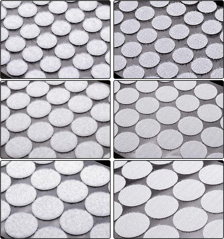 color blanco 540 piezas de 2//5 pulgadas de di/ámetro y 100 piezas de 2,5 cm de di/ámetro. 400 piezas de 3//4 pulgadas de di/ámetro 1040 unidades de cintas autoadhesivas con gancho y lazo