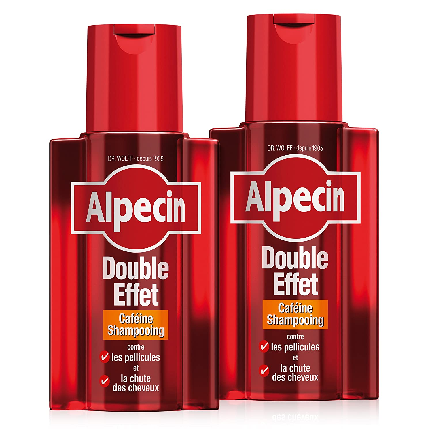 Alpecin Shampooing Caféine Double Effet, 2x200 ml - Shampooing anti-chute et antipelliculaire F21863