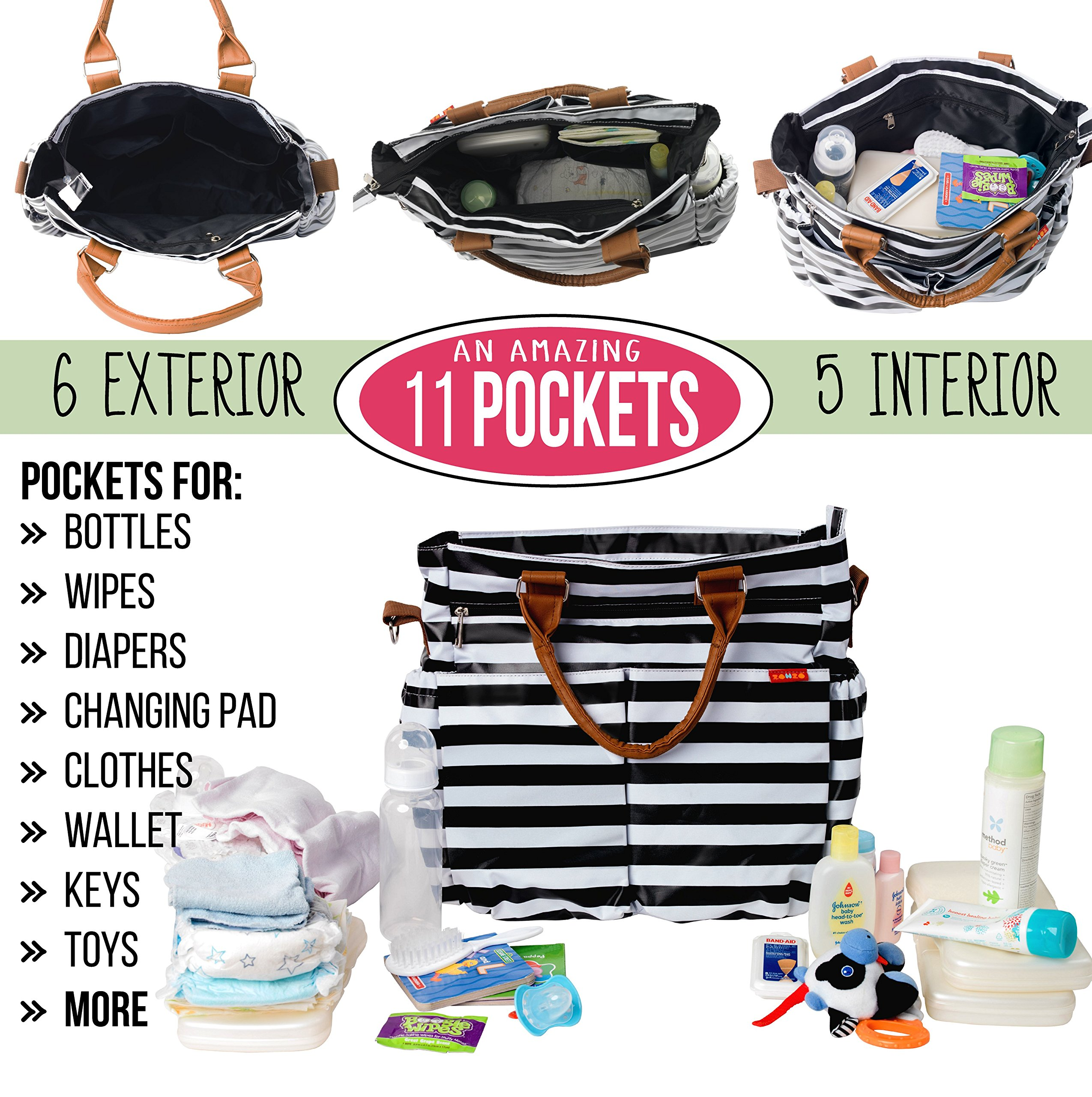 Diaper Bag Tote by Zohzo - Diaper Tote Bag With Changing Pad, Insulated Pockets, Wipes Pocket, Waterproof Material, Stroller Straps, and Shoulder Strap Diaper Bags