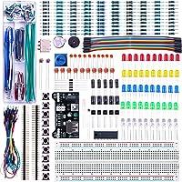 ELEGOO Kit Électronique Mis à Jour avec Module d'alimentation, Câbles Jumpers, Potentiomètre de précision, Plaque de Test 830 Points pour Arduino UNO R3 Mega 2560 Nano Raspberry Pi et STM32