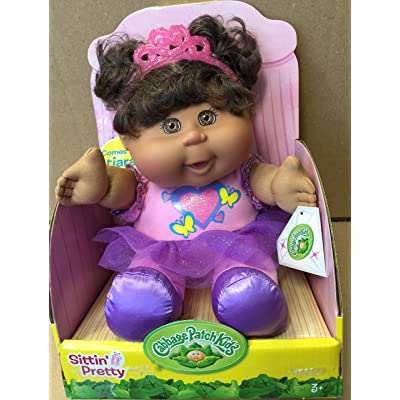 Cabbage Patch Sittin Pretty Ethnic Doll with Tiara (Brown Hair, Brown Eyes): Toys & Games