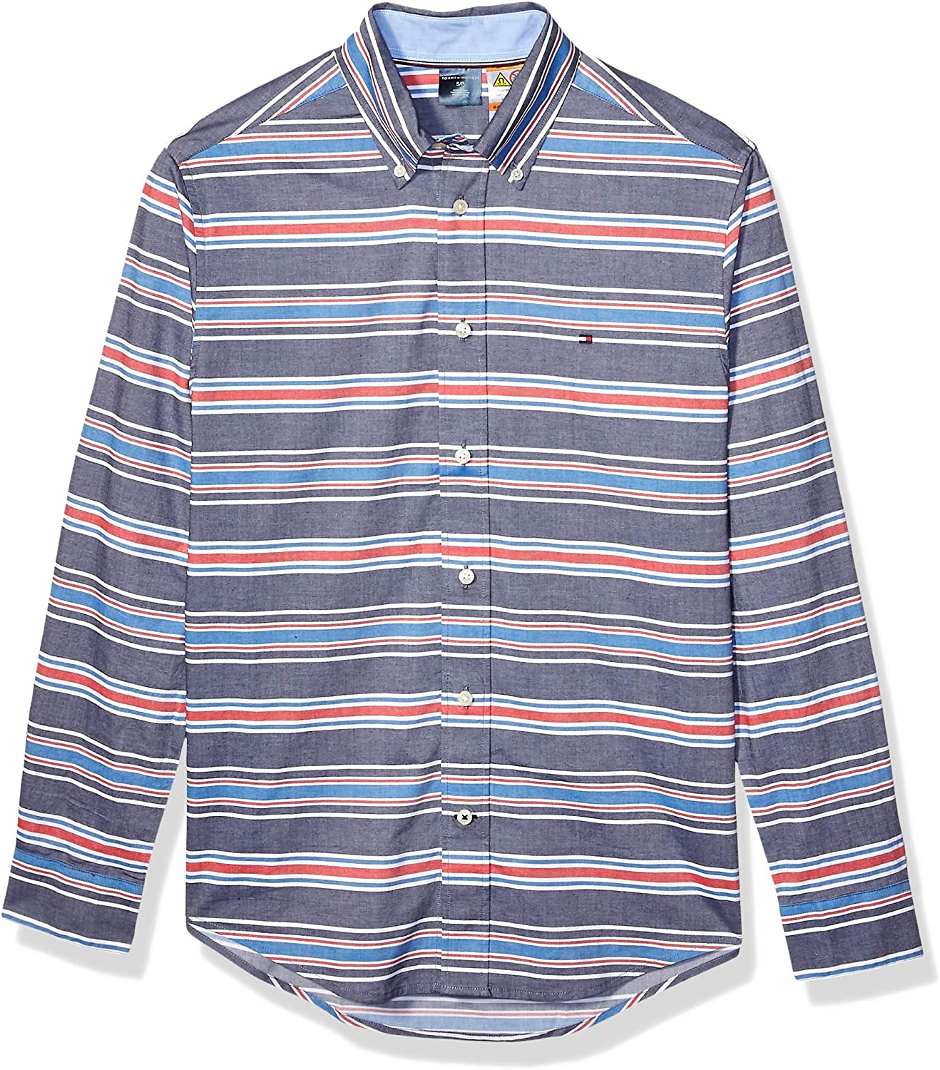 Tommy Hilfiger Men's Adaptive Magnetic Long Sleeve Button Down Shirt Custom Fit
