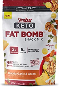 SlimFast Keto Fat Bomb Snack Mix, Gouda Garlic & Onion, 8 Oz Bag Pantry Friendly