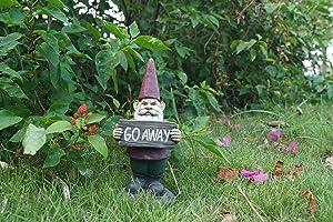 Hi- Line Gift 75616-N Gnome Holds Go Away Sign