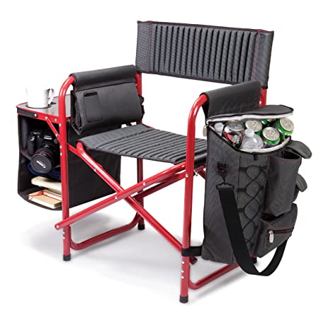Elegant Picnic Time Fusion Original Design Outdoor Folding Chair, Gray With Red  Frame