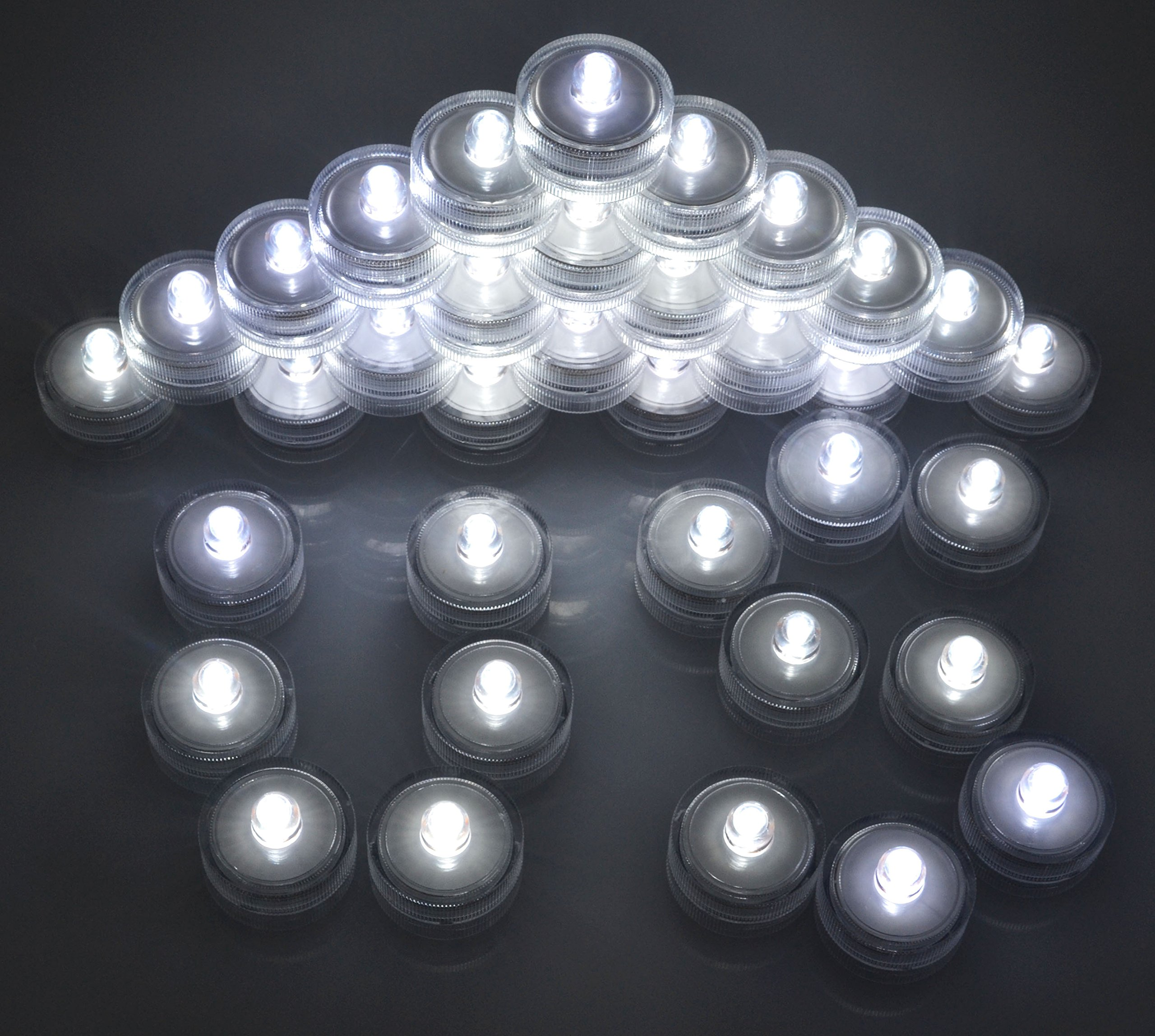 Samyo Set of 36 Waterproof Wedding Submersible Battery LED Tea Lights Underwater Sub Lights- Wedding Centerpieces Party Decorate (White) by Samyo (Image #2)