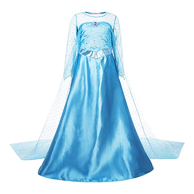 Katara - Disfraz de Princesa Elsa de Frozen - Vestido elegante con tren largo y diamante para niñas de 7-8 años, color Azul (1688): Amazon.es: Juguetes y ...