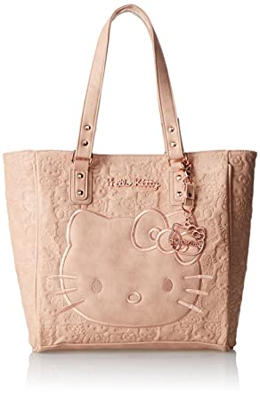 d4b53408f92 Hello Kitty Blush Embossd Face Satchel Top Handle Bag, Blush, One Size   Handbags  Amazon.com