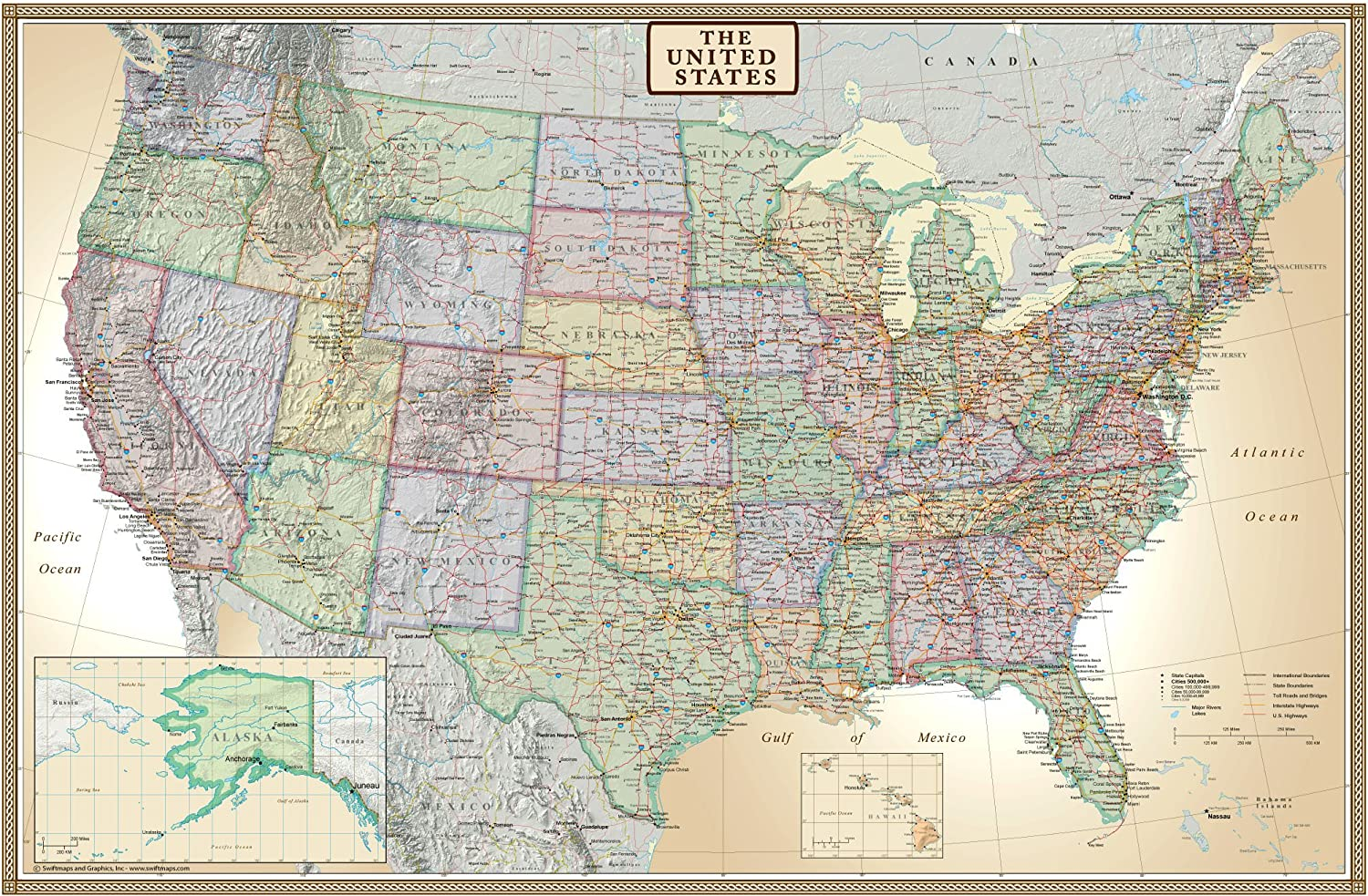 24x36 United States, USA US Executive Wall Map Poster Mural (24x36 Laminated)
