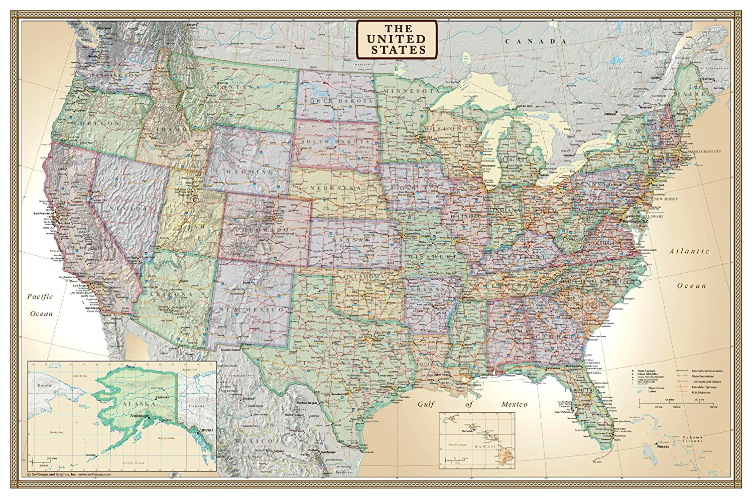 Amazoncom X United States USA US Executive Wall Map Poster - Us map and oceans