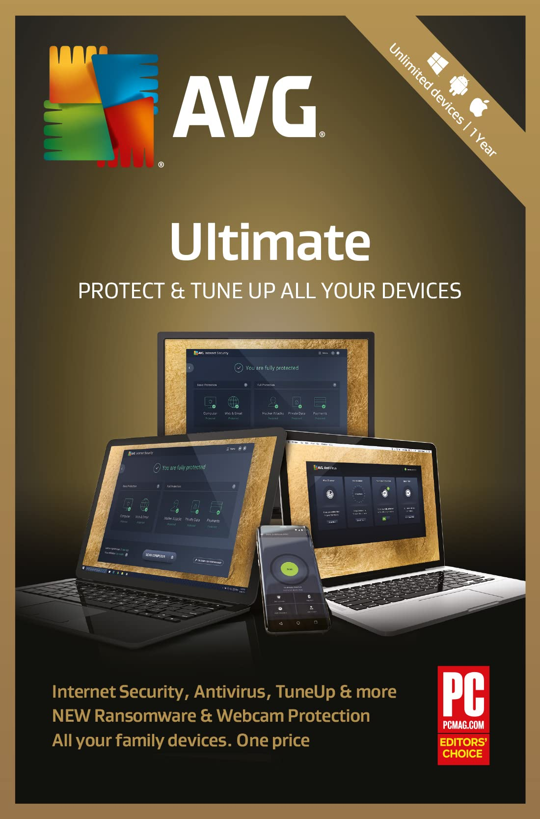AVG Ultimate Security 2 Years 7 PACKS Unlimited Devices PC Mac Android