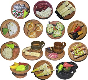 Miniature Mexican Fiesta Clay Pretend Food Decorations Arts Day of The Dead Offerings Dia De Los Muertos Ofrendas Cinco de Mayo (Pack2-14Pieces)