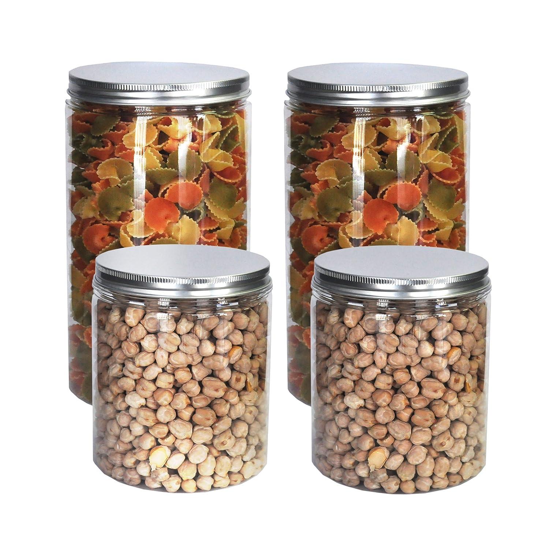 Pack 4 Barattoli di Polietilene Alimentare, 0,95 L (12x10cm) e 1,3 L (18x10cm), Contenitori con Coperchi in Alluminio a Vite. Riciclabile. 100% Senza BPA. Nortem Biotechnology
