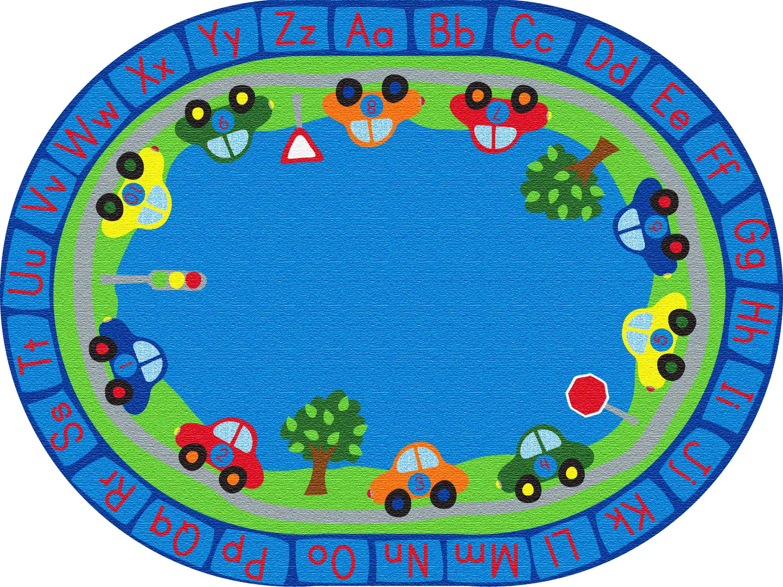 ECR4Kids School Classroom Learning Carpet, All Around Cars Educational Alphabet Rug for Children, Oval, 6 x 9-Feet