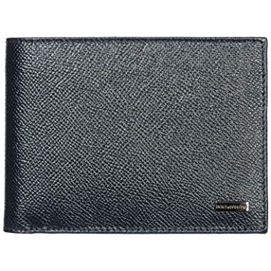 e98b8385 Image Unavailable. Image not available for. Color: Dolce & Gabbana Dark Blue  Pebbled Leather Logo ...