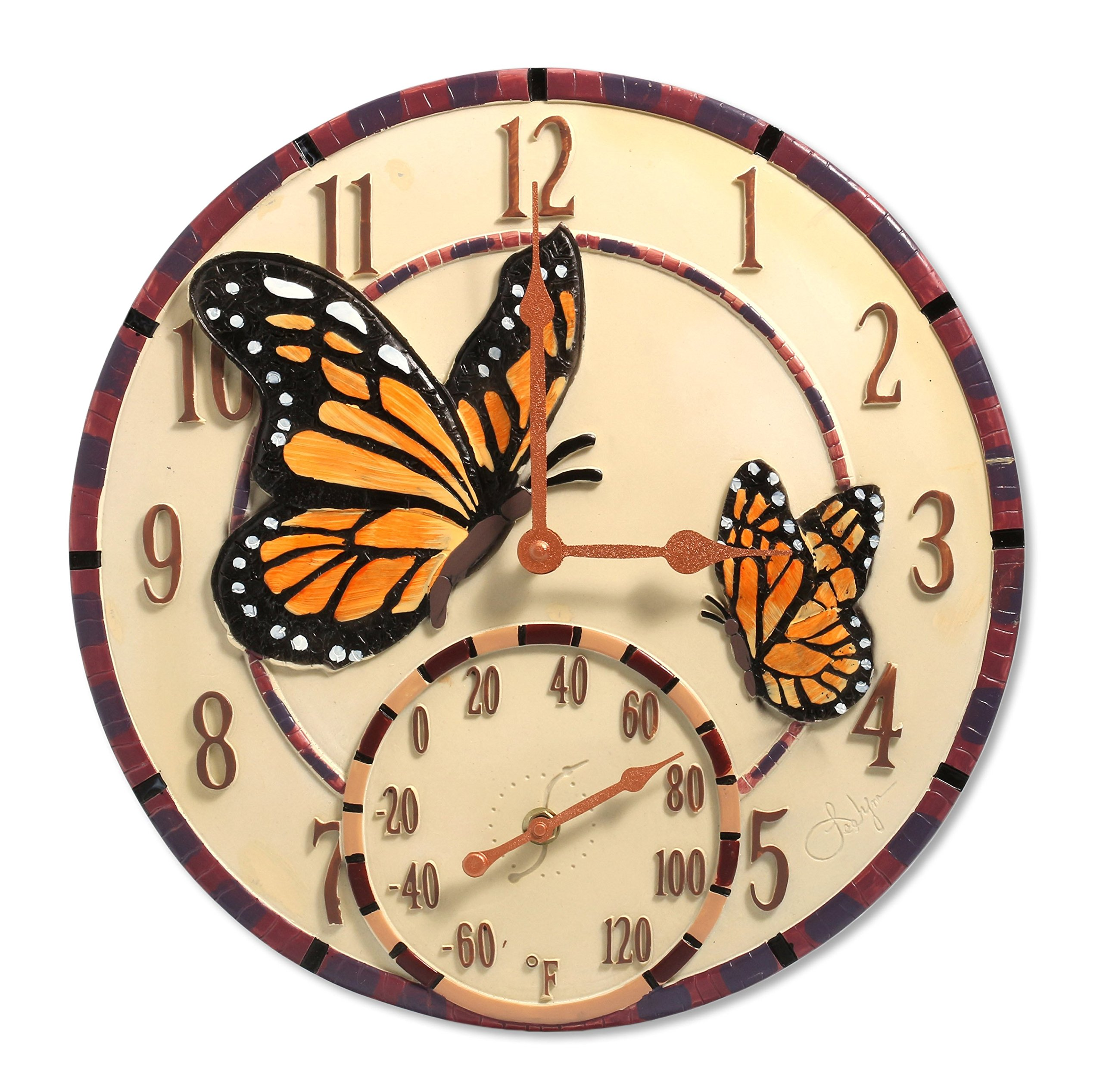 Springfield 14'' Mosaic Butterflies Poly Resin Clock with Thermometer