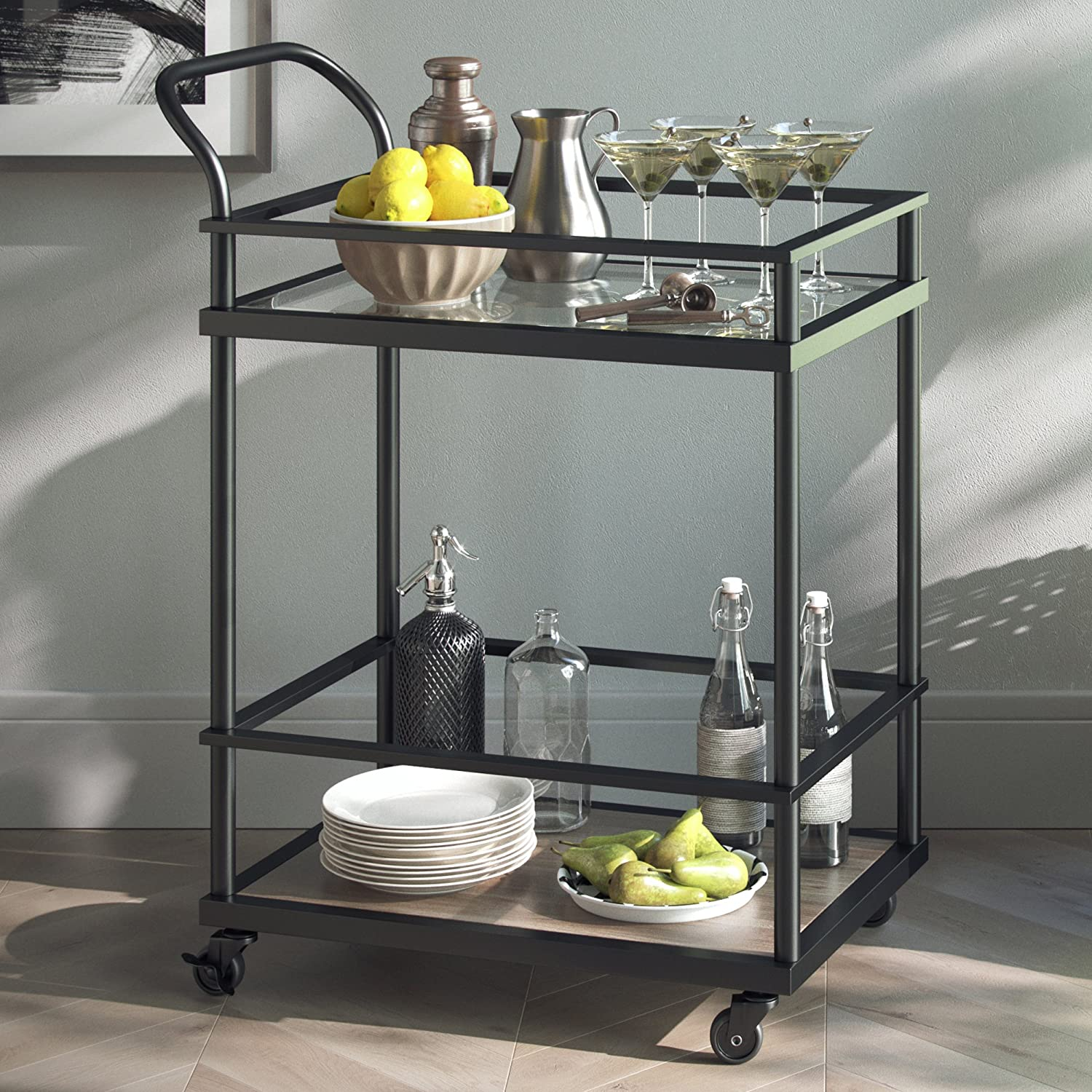 Nathan James 45001 Carter Rolling Bar and Serving Cart 2-Tiered Glass and Metal, Black