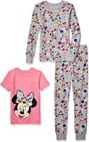 Spotted Zebra by Disney - Girls' Toddler & Kids Mickey and Minnie Mouse 3-Piece Snug-fit Cotton Pajama Set