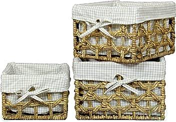 Vintiquewise(TM) Maize Lined Storage Baskets (Set of 3)