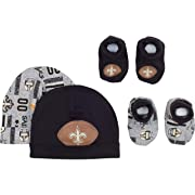 NFL New Orleans Saints 2 Baby Caps and 2 Booties Set, 0-6 Months, Black/Gray