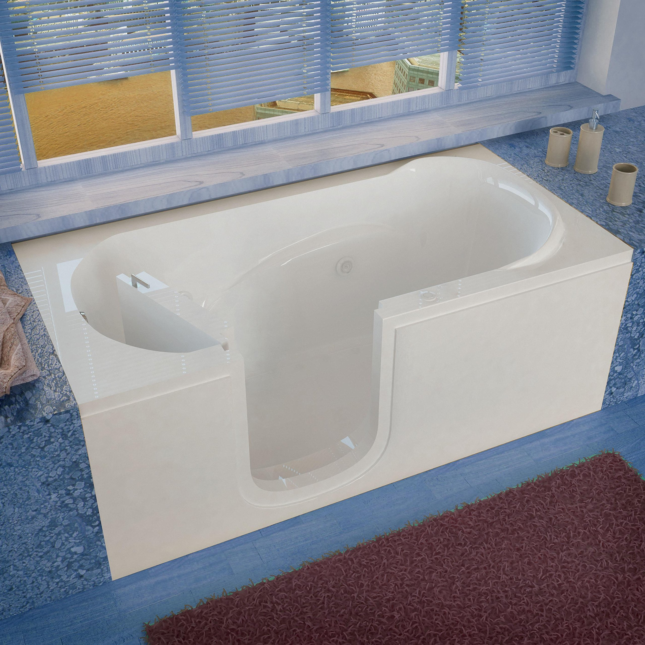 Spa World Venzi Vz3060silwh Rectangular Whirlpool Walk-In Bathtub, 30x60, Left Drain, White