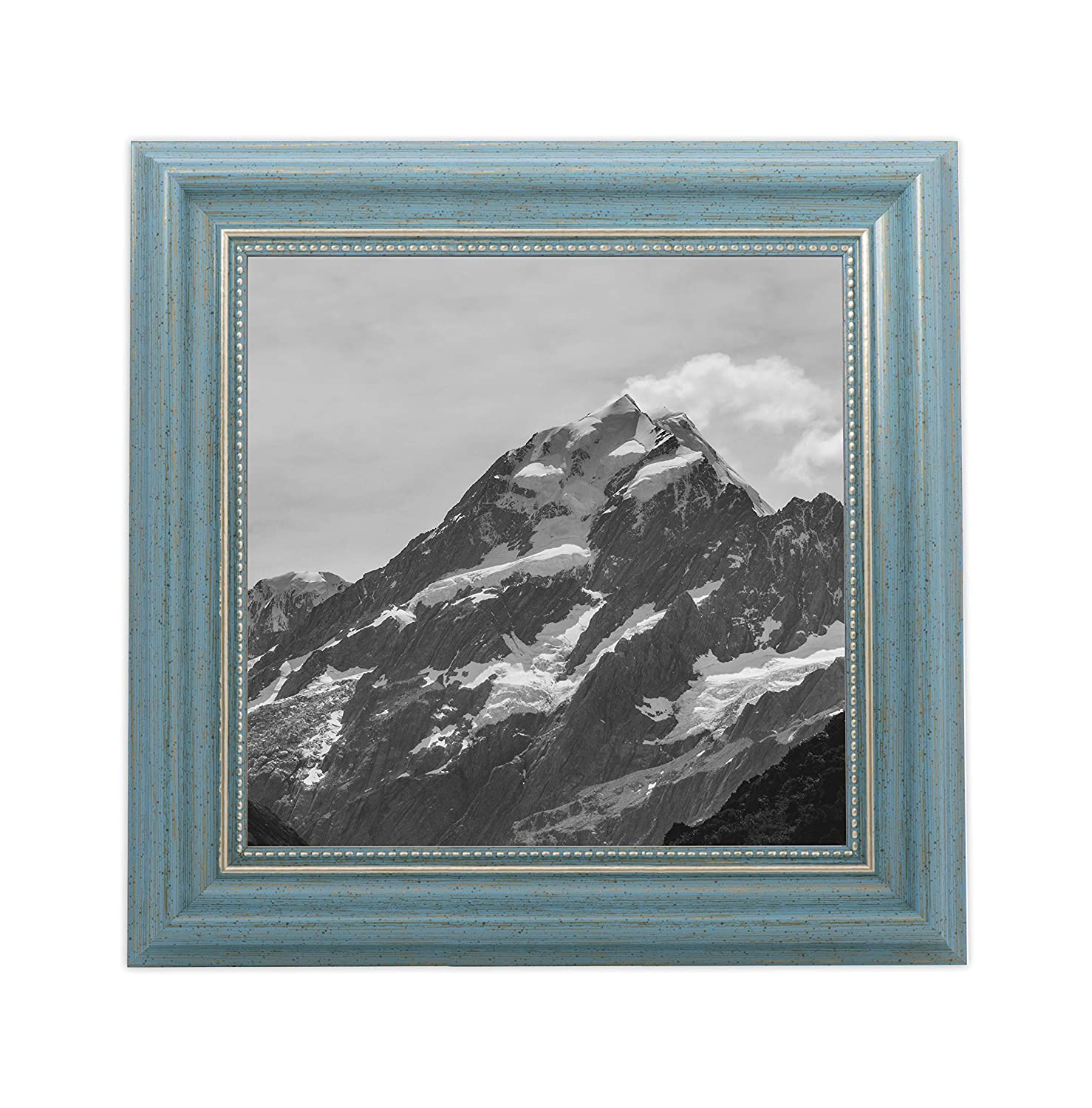 EcoHome 4x4 Picture Frame Square - Tabletop Display or Hang, Classic Brown Wood, Instagram Photos