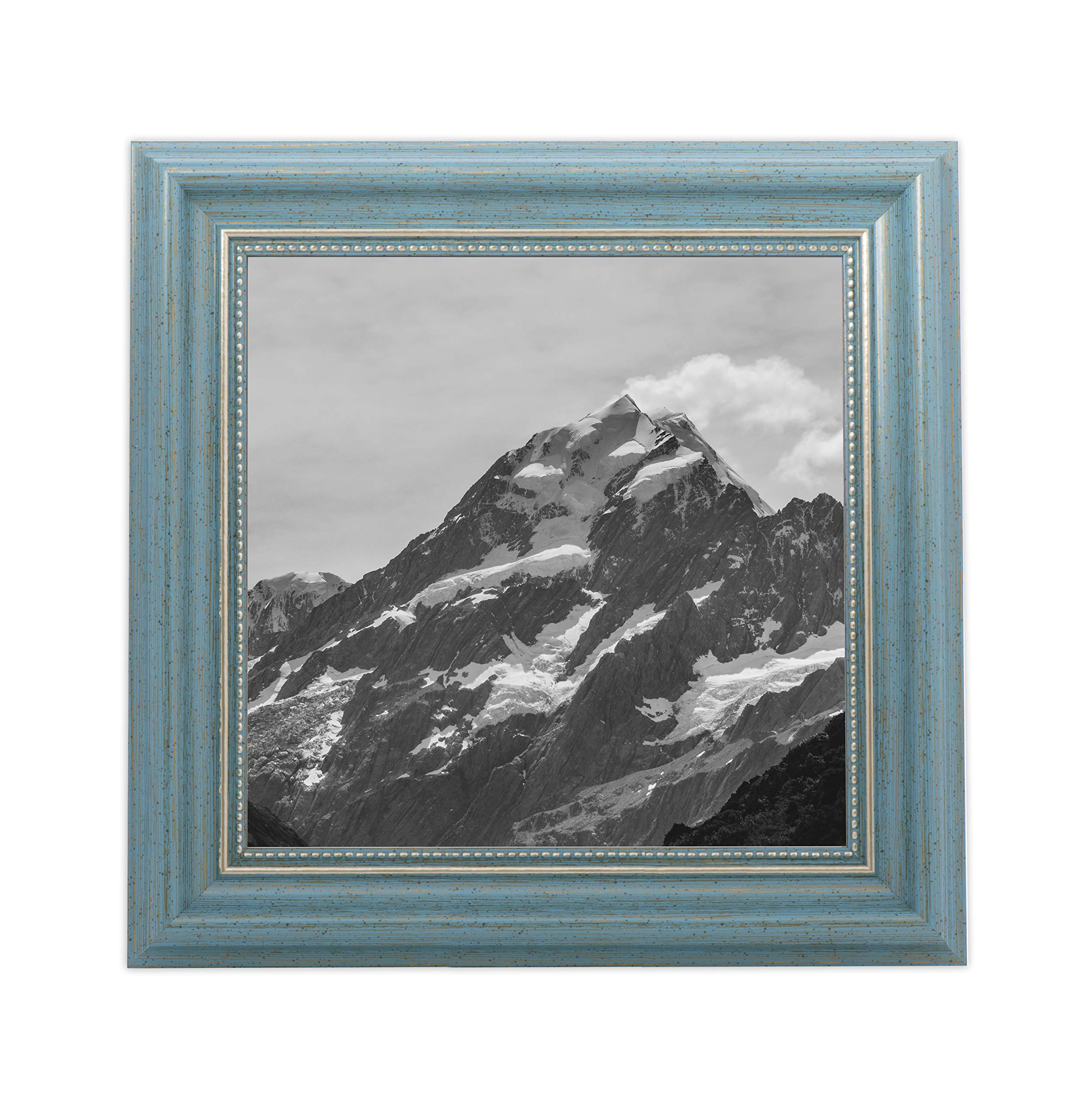 EcoHome 8x8 Picture Frame Teal - Gold Matted for 4x4 Pictures & 8x8 Pictures Without mat - Hanging Kit Included