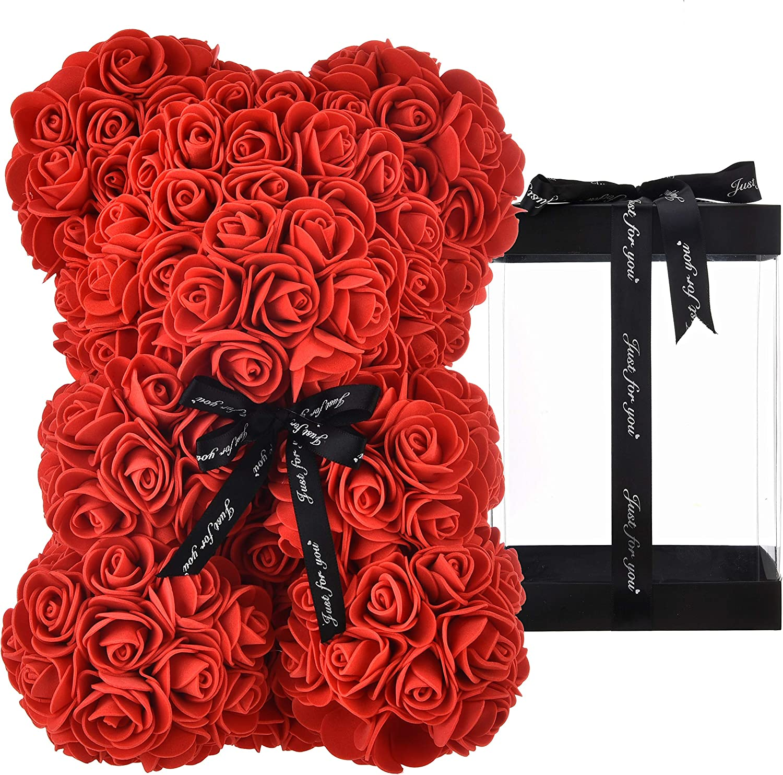 Osito oso rosa osito oso rosas oso de rosas regalos para mamá mujeres sus regalos para niñas adolescentes aniversario regalos madre, oso de rosa hecho a mano flor Valentín - oso rosa con caja (rojo)