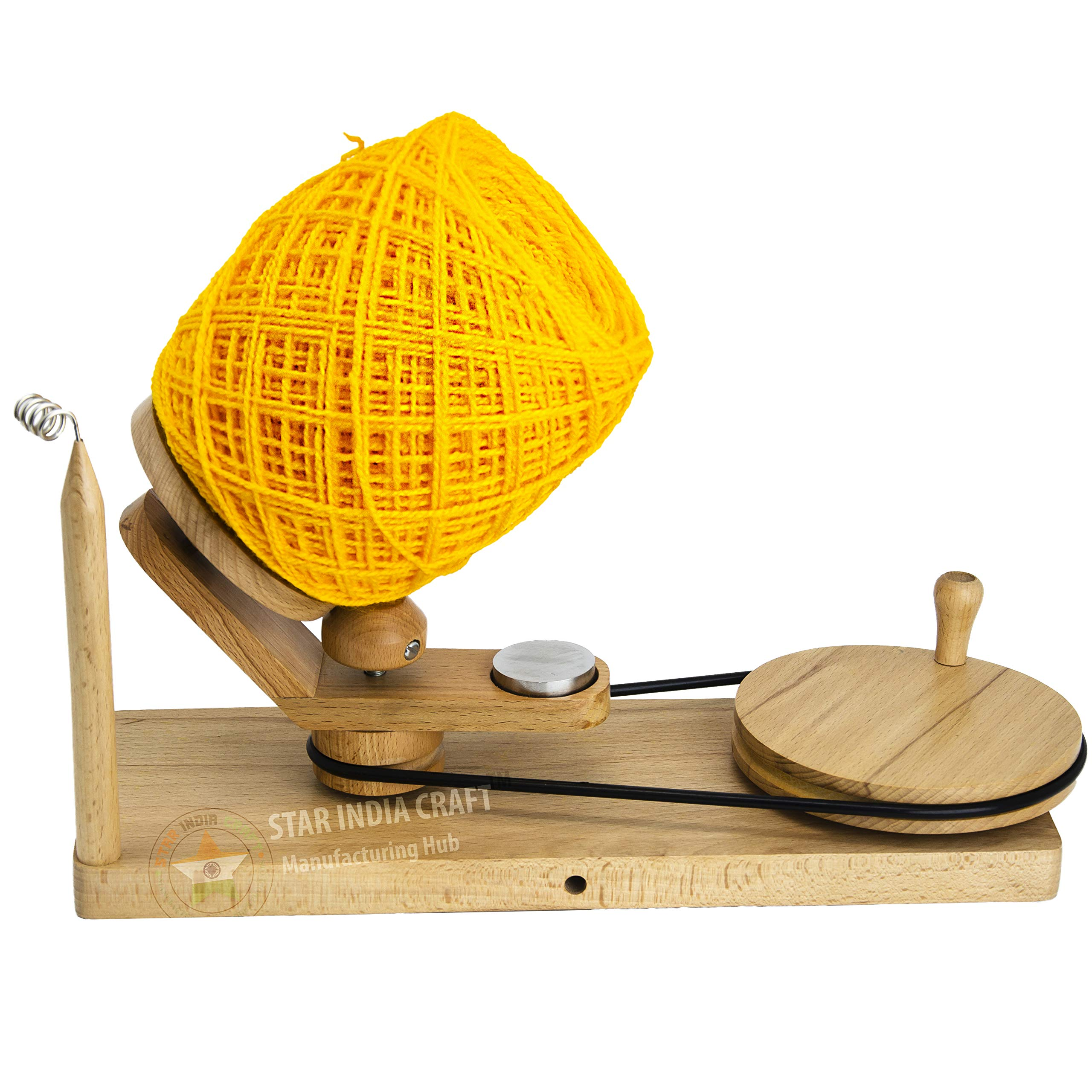 STAR INDIA CRAFT Handmade Center Pull Yarn Ball Winder - Natural Yarn Winder | Perfect DIY Knitter's Gifts for Knitting and Crocheting | Handcrafted Ball Winder (Yarn Winder, Standard)